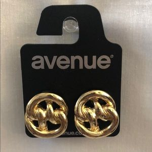 New Love Knot Pretzel Stud Gold Tone Earrings